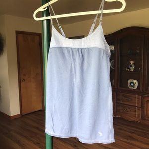 Blue tank with lace straps and keyhole back